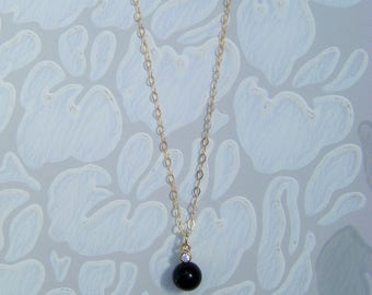 """Black pearl pendant , pearl and cz pendant , simple pearl necklace , 18"""" gold filled chain, gold layer necklace, simple pendant"""
