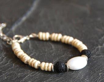 Black and white stone bracelet, Beaded bracelet, Natural gemstone bracelet, Magnesite Lava Agate, Boho jewelry for men, Gift for him, 1167-2
