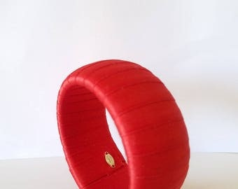 Hot Vintage Furla Chunky Bracelet, Red Satin Ribbon Bracelet, Ribbon Wrapped Cuff Bracelet, Made In Italy, Furla Signed Jewelry