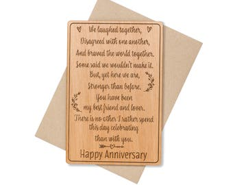 5th Anniversary Card. Anniversary Wood Cards for Him, for Her. Anniversary Gifts for Husband.