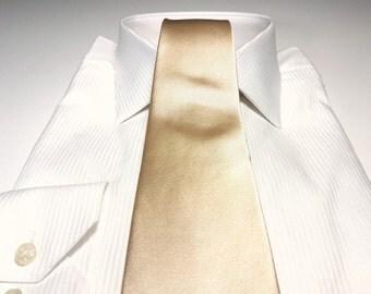 Dark Champagne Gold Silk Tie (3 inch) Gold Solid Tie