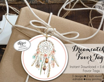 INSTANT DOWNLOAD - Dream Catcher Favor Tag - Boho Arrow Feather Pow Wow Gift Tag - Dreamcatcher Thank you tag - Wild One 0332 0333 0334