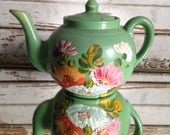 vintage Ransburg Pottery Teapot,circa 1930-50s,hand painted #131,jadite green,vintage stoneware,excellent condition,Mothers Day,collector