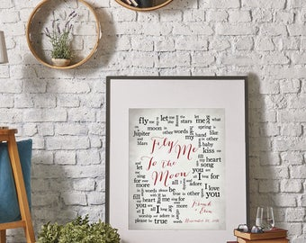 1st Paper Anniversary//Wedding Song: Fly Me To The Moon by Frank Sinatra//Wedding Song Lyric Art//Personalized names//date pick colors print