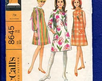 1960's McCall's 8645 Mod Star Trek Chic A-Line Dresses Pattern Size 12