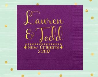 Louisiana Wedding, New Orleans Wedding, Mardi Gras Party, Mardi Gras Favor, Wedding Favor, Masquerade Wedding, NOLA Wedding, Paper Napkin