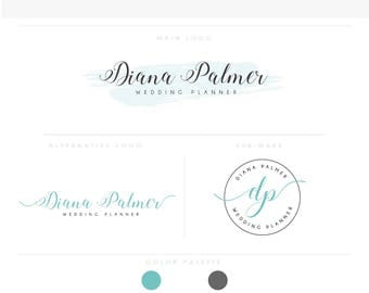 Watercolor Logo Design Branding Package Inc. Photography Logo Watermark - sky blue initials letters cute Watercolor Logo- Logo 11