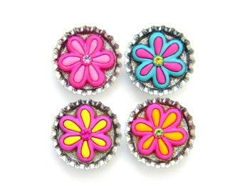 NEW Bottle Cap Magnets - Neon Flowers - Set of 4 Glitter Resin Filled