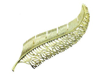 Large Gold Feather Brooch, Vintage Gold Feather Pin