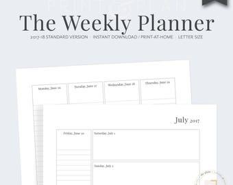 2017-2018 Weekly Printable Planner, Academic Planner, Planner Inserts, Weekly Agenda, 2017-2018 Agenda, Diary, Calendar, She Plans Planner