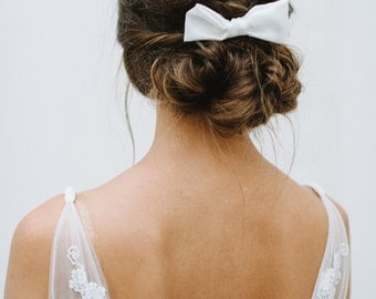 """Bridal accessory white hair bow  - """"Odette"""""""