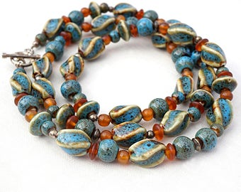 vintage 70s necklace Long Necklace Ceramic bead necklace  Earth Tones Necklace Amber Blue Necklace Bohemian boho Earthy eco friendly jewelry