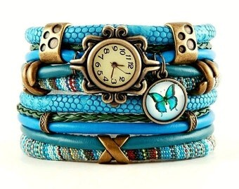 bracelet and a watch, cuff, stylish watch,blue, butterfly
