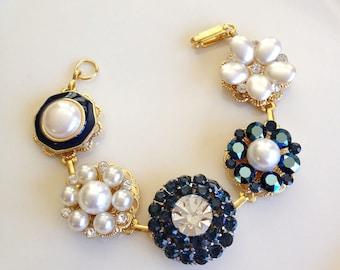 Navy blue, vintage earring bracelet, cluster earring, bracelet, vintage, jewelry, cameo, rustic, bridesmaid, gift, blue, pearl, gold, navy