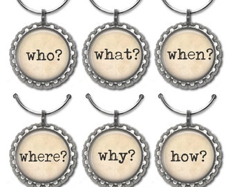 Typography wine charms newspaper writer grammar teacher gift who, what, when, where, why drink tags.