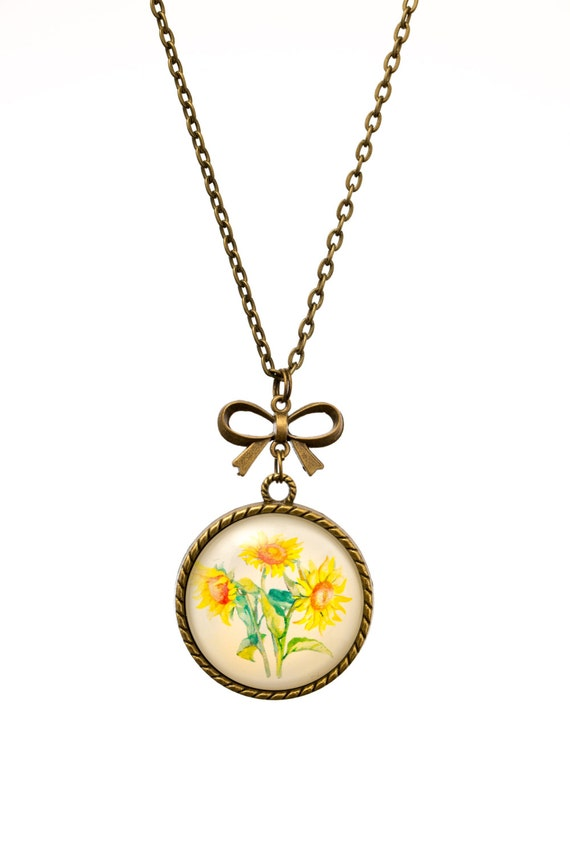 FREE SHIPPING - **NEW** Sunflower Posy 30mm Bronze Lace & Bow Pendant Necklace - Unique - Vintage - Gorgeous Gift - Love