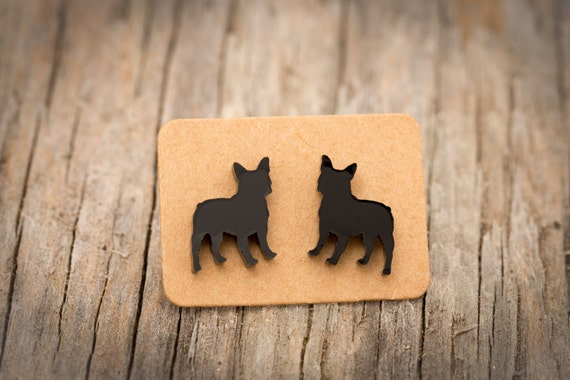FREE SHIPPING WORLDWIDE - Black French Bulldog Earrings - Surgical Steel - Studs - Gift Box - Handmade Bamboo Wood Earrings - Acrylic Studs