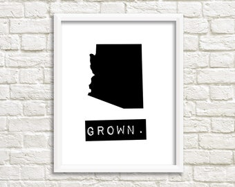 Arizona wall art, personalized home decor printable, black and white wall art, Arizona home sign, map digital download, home state sign