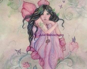 fairy art- fairy- art print- giclee- fantasy art- rose- flower- flower fairy- green- girl- gift for her- woman- fairy wings