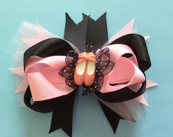 Ballerina Pink Black and Tulle Layered Boutique Hair Bow