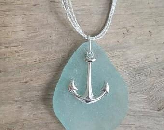 Aqua Sea Glass Anchor Necklace