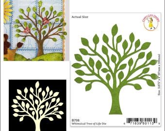 Whimsical Tree of Life metal die - Cheery Lynn Designs cutting dies B798 for card making scrapbooking use in Cuttlebug,Big Shot,more