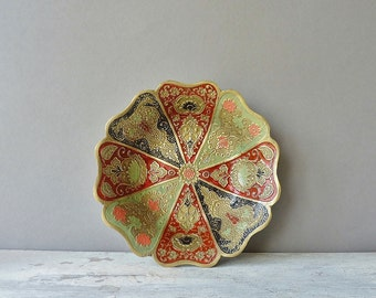 Vintage Decorative Painted Brass Bowl / Dish, Home Decor, Boho Style, Gold, Red, Green, Blue, Pink