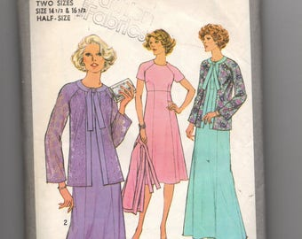 8334 Simplicity Sewing Pattern Empire Dress Choice Sleeves & Jacket 37B 39B Vintage 1970s