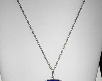 Vintage Lapis Lazuli Glass Oval Pendant with Silver Chain - 800