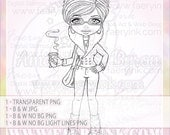 Coffee to Go Please! Busy Professional UNCOLORED Digital Stamp Image Adult Coloring Page jpeg png jpg Craft Cardmaking Papercrafting DIY