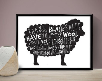 Baa Baa Black Sheep Star Print, Nursery Print, Childrens Bedroom Print