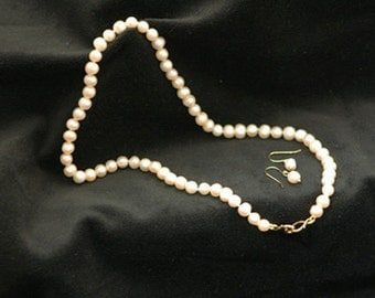 Cream Freshwater Pearl Necklace and Earring Set