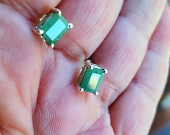 emerald earrings stud 1970 2ct untreated emeralds sterling vintage estate earrings