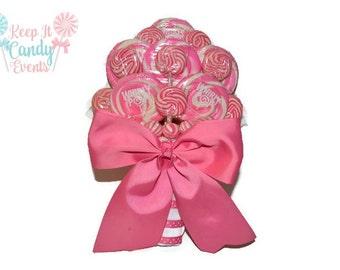 Pink Lollipop Bridal Bouquet, Candy Wedding Bouquet, Rehearsal Dinner Bouquet, Lollipop Wedding Bouquet, Non Flower Bouquet, Pink Bouquet