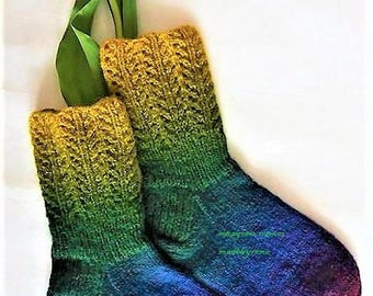 Coloful wool soks, Hand knitted, green blue yellow soks Handmade