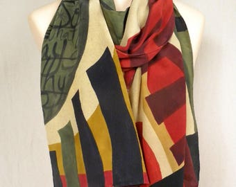 Abstract Art Hand Painted Silk Scarf - Rich Stonewashed Crepe de Chine - Red, Black, Gray and Gold
