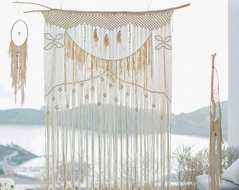 Macrame Curtain Wall Hanging Wedding Backdrop With Natural Cotton Rope And Lace Minimal