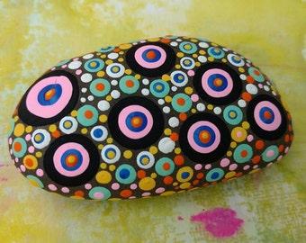 PAINTED BEACH STONE # 15 / Mandala Stone / Pebble Art / Dot Painted Stone /Home Decor / Decorative Rock/ Abstract / Acrylic / Original