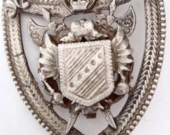 Heraldic Brooch, Pendant, Antique Silver Tone, Shield