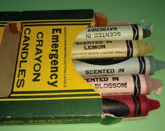 vintage candles,6 jumbo EMERGENCY CRAYON CANDLES,in original box., unused