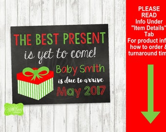 Christmas Pregnancy Announcement Sign - Printable Pregnancy Announcement Sign - Digital Chalkboard Sign - Christmas Present Pre