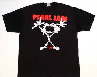 Pearl Jam T Shirt Vintage Band Logo XL Tee Alive Concert Tour Dallas Texas 1992 Lollapalooza Starplex Eddie Vedder Seattle Grunge Stick Man