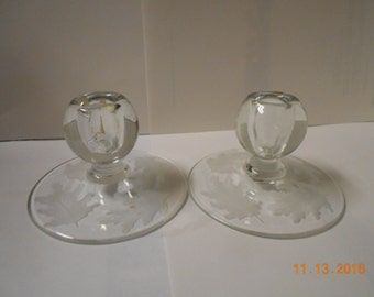 Etched Candle stick holders (set of 2)