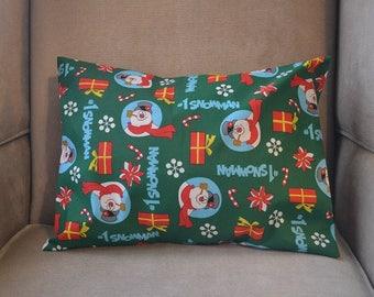Travel Pillow Case / Child Pillow Case FROSTY the SNOWMAN / #1 Snowman