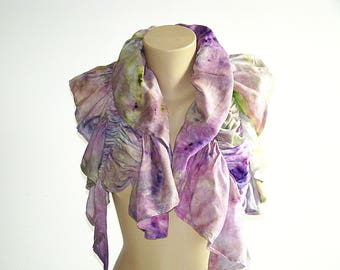 Purple Apple Green Spring Summer Asymmetrical Gathered Scarf  gift for her