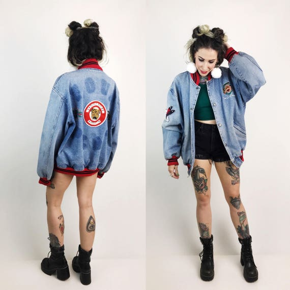 90's Bugle Boy Denim Bomber Jacket Large - Denim Sporty VTG Letterman Unisex Coat With Plaid Lining - 1990s Soft Denim Prep School Jacket