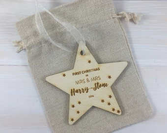 First Christmas as Mrs & Mrs 2017 // Personalised Wooden Star Christmas Tree Decoration
