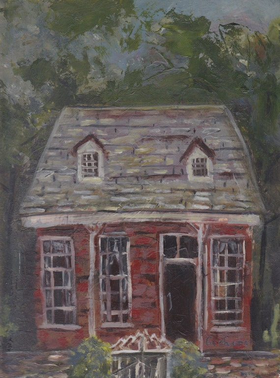 Original oil painting, Brick House, on 6 x 8 inch panel, unframed art, folk art, abstract painting, charming, quaint, red green small art
