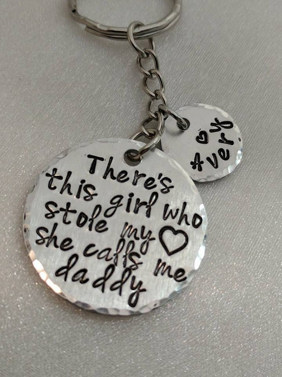Fathers Day Gift - Father's Day Gift from Daughter - Personalized - Gift for Dad - Father's Day Keychain - There's This Girl - Daddy Gift