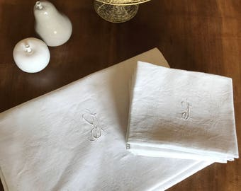 Handmade monogramm YJ table cloth and 8 napkins coordinated, embroidered.